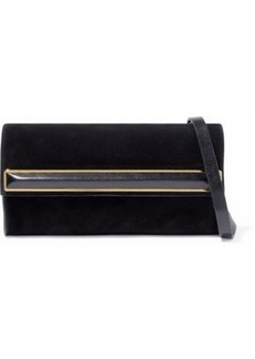 Halston Heritage Woman Leather-trimmed Embellished Suede Clutch Black