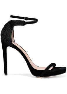 Halston Heritage Woman Meggie Calf Hair And Braided Suede Sandals Black