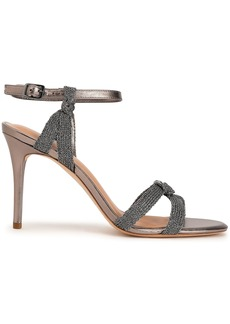 Halston Heritage Woman Melanie Metallic Mesh And Leather Sandals Taupe