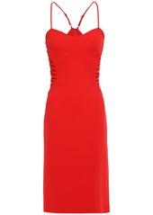 Halston Heritage Woman Mesh-paneled Crepe Dress Tomato Red