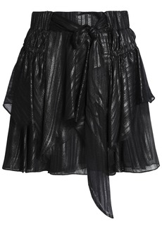 Halston Heritage Woman Metallic Bow-detailed Layered Chiffon Mini Skirt Gunmetal