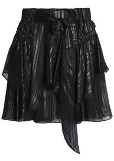 Halston Heritage Woman Metallic Bow-detailed Layered Chiffon Mini Skirt Gunmetal