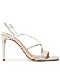 Halston Heritage Woman Metallic Leather Sandals Silver