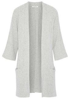 Halston Heritage Woman Mélange Cotton And Cashmere-blend Cardigan Light Gray