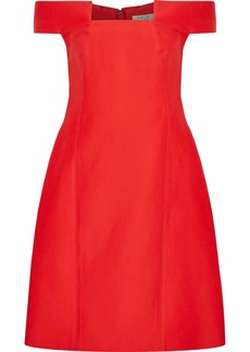 Halston Heritage Woman Off-the-shoulder Cotton And Silk-blend Dress Tomato Red
