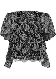 Halston Heritage Woman Off-the-shoulder Draped Metallic Cotton-blend Lace Top Black