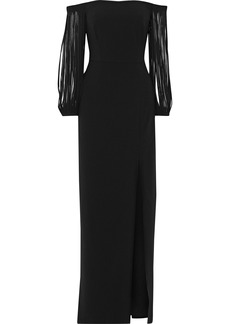 Halston Heritage Woman Off-the-shoulder Fringed Crepe Gown Black