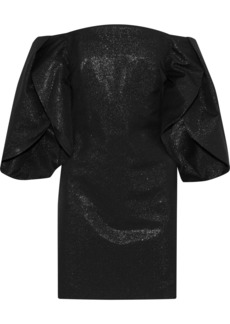 Halston Heritage Woman Off-the-shoulder Metallic Cotton-blend Mini Dress Black