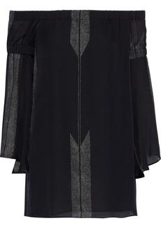 Halston Heritage Woman Off-the-shoulder Printed Silk-chiffon Top Black