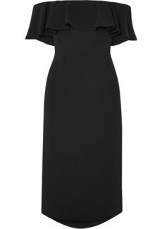 Halston Woman Off-the-shoulder Ruffled Stretch-crepe Midi Dress Black