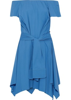 Halston Heritage Woman Off-the-shoulder Tie-front Stretch-cotton Poplin Dress Azure