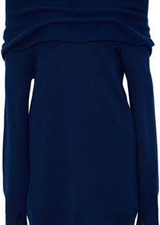Halston Heritage Woman Off-the-shoulder Wool And Cashmere-blend Sweater Navy