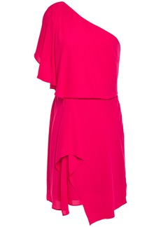 Halston Heritage Woman One-shoulder Draped Crepe De Chine Mini Dress Bright Pink