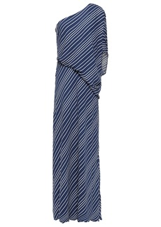 Halston Heritage Woman One-shoulder Draped Striped Crepe De Chine Gown Navy