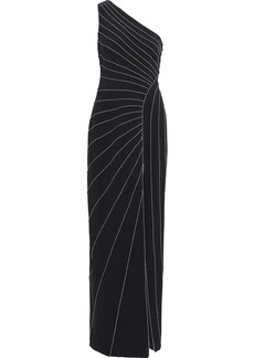 Halston Heritage Woman One-shoulder Metallic-trimmed Crepe Gown Black