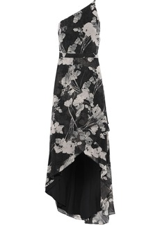 Halston Heritage Woman One-shoulder Floral-print Chiffon Gown Black
