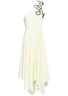Halston Heritage Woman One-shoulder Ruffled Stretch-crepe Midi Dress Ivory