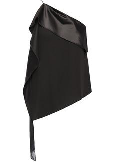 Halston Heritage Woman One-shoulder Satin And Georgette-paneled Crepe Top Black