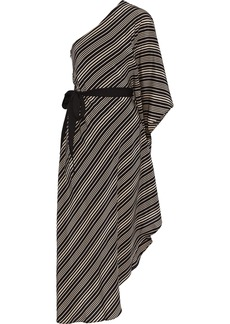 Halston Heritage Woman One-shoulder Striped Silk Crepe De Chine Midi Dress Black