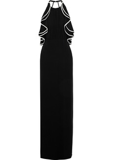 Halston Heritage Woman Open-back Ruffle-trimmed Crepe Gown Black