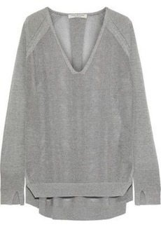 Halston Heritage Woman Oversized Mélange Knitted Sweater Gray