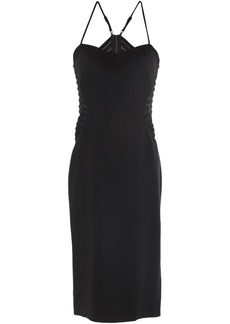 Halston Heritage Woman Mesh-paneled Crepe Dress Black