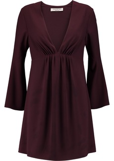 Halston Heritage Woman Pleated Crepe Mini Dress Burgundy