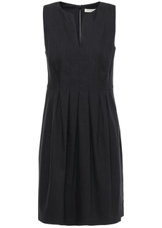 Halston Heritage Woman Pleated Linen-blend Mini Dress Black