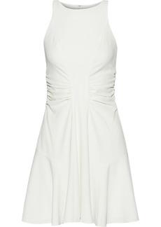 Halston Woman Ruched Crepe Mini Dress Ivory