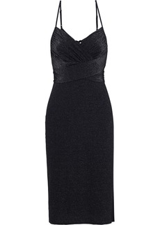 Halston Heritage Woman Ruched Metallic Stretch-knit Dress Black