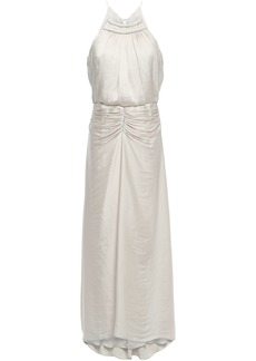 Halston Heritage Woman Ruched Satin Halterneck Gown Off-white