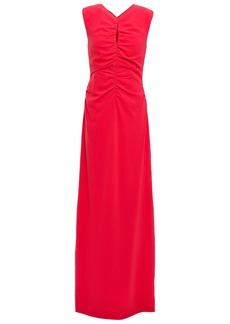 Halston Heritage Woman Ruched Stretch-crepe Gown Tomato Red