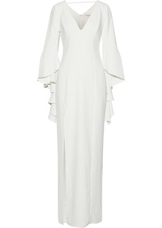Halston Heritage Woman Ruffle-trimmed Crepe Gown Off-white