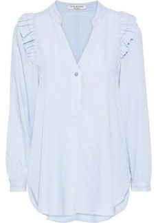 Halston Heritage Woman Ruffle-trimmed Jacquard Blouse Sky Blue