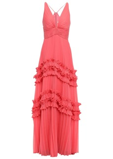 Halston Heritage Woman Ruffle-trimmed Pleated Voile Gown Coral