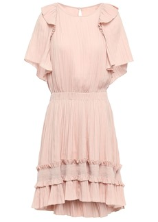 Halston Heritage Woman Ruffle-trimmed Plissé Crepe De Chine Mini Dress Blush