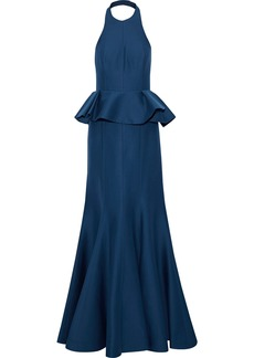 Halston Heritage Woman Ruffled Cotton And Silk-blend  Halterneck Gown Cobalt Blue