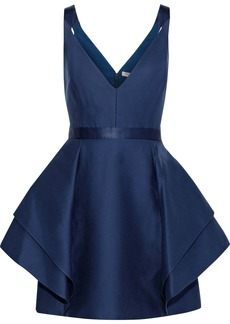 Halston Heritage Woman Ruffled Cotton And Silk-blend Mini Dress Royal Blue