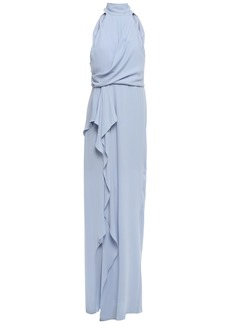 Halston Heritage Woman Ruffled Draped Crepe Gown Sky Blue