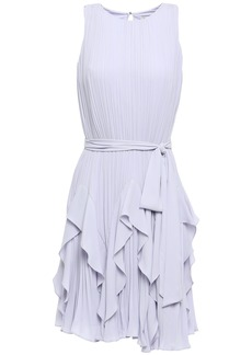 Halston Heritage Woman Ruffled Plissé-crepe Mini Dress Lilac