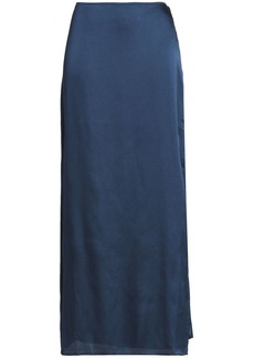 Halston Heritage Woman Satin Maxi Skirt Storm Blue