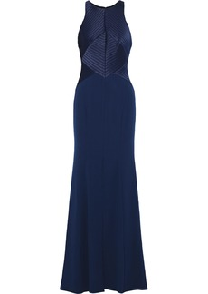 Halston Heritage Woman Satin-paneled Crepe Gown Navy