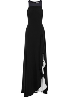 Halston Heritage Woman Satin-paneled Ruffled Two-tone Crepe Gown Black