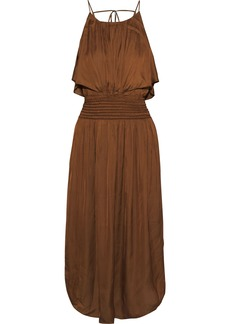 Halston Woman Shirred Crinkled-sateen Midi Dress Light Brown