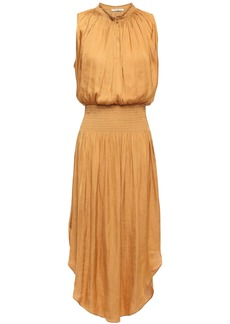 Halston Heritage Woman Shirred Gathered Satin Dress Mustard