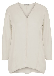 Halston Heritage Woman Washed Silk-blend Blouse Ecru