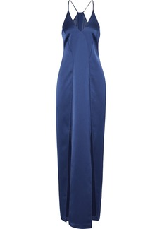 Halston Heritage Woman Split-front Chiffon-paneled Satin Gown Navy