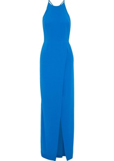 Halston Heritage Woman Split-front Cutout Crepe Gown Bright Blue