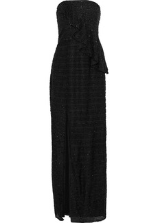 Halston Heritage Woman Strapless Crochet-trimmed Tinsel Peplum Gown Black