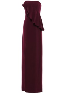 Halston Heritage Woman Strapless Ruffled Stretch-crepe Gown Burgundy